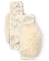 Rachel Zoe - Cream Wool Blend Knit and Fox Fur Arm Warmers - Lyst