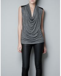 Zara Draped Tshirt with Faux Leather Shoulders gray - Lyst