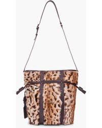 Barbara Bui - Leopard Print Rabbit Fur Bucket Bag - Lyst
