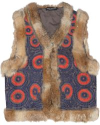 Antik Batik Cicero Rabbit Trimmed Embroidered Cotton Vest - Lyst