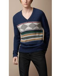 Burberry Brit - Geometric Lambswool Sweater - Lyst