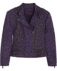 Christopher Kane Leopardprint Wool Biker Jacket - Lyst