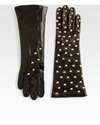 Portolano Nappa Studded Leather Gloves - Lyst