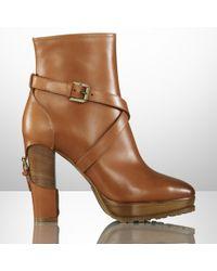 Ralph Lauren Collection Teana Calfskin Buckle Bootie - Lyst