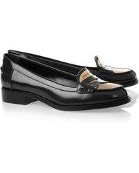 Saint Laurent Charlotte Glossedleather and Metal Loafers - Lyst