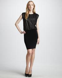 Alice + Olivia Leathertop Combo Dress - Lyst