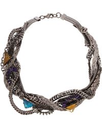 Fenton - Gunmetal Thick Twisted Necklace - Lyst
