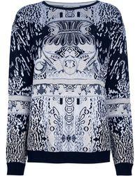 Mary Katrantzou Long Sleeve Knit Sweater black - Lyst