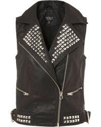 Topshop Studded Sleeveless Jacket - Lyst