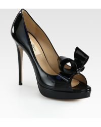Valentino Couture Patent Leather Bow Platform Pumps black - Lyst