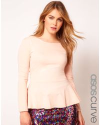 Asos Curve Exclusive Peplum Top In Soft Jersey With Sleeves - Lyst