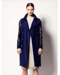 Sophie Hulme Bluenavy Leather Sleeve Wool Trench Coat By Sophie Hulme - Lyst