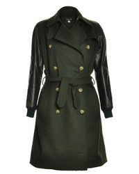 Sophie Hulme -  Leather Sleeve Wool Trench Coat  - Lyst