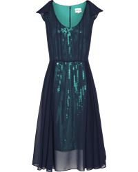Reiss Sheer Overlay Sequin Dress green - Lyst
