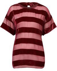 Topshop Velvet Devore Stripe Tee red - Lyst