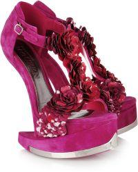 Alexander McQueen Enameled Flower Suede Platform Sandals pink - Lyst