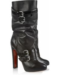 Christian Louboutin Loubi Bike 140 Leather And Python Boots - Lyst