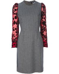 Junya Watanabe Floral Sleeve Fitted Dress - Lyst