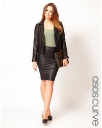 Asos Curve Pu and Jersey Panel Pencil Skirt - Lyst