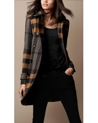 Burberry Brit Midlength Woven Check Wool Trench Coat - Lyst