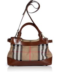 Burberry Dark Tan Bridle House Check Small Hepburn Tote - Lyst