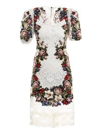Dolce & Gabbana Embroidered Lace Dress white - Lyst