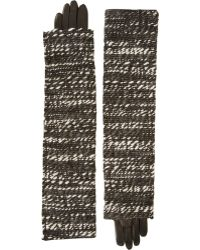 Nina Ricci - Layered Tweed and Leather Gloves - Lyst