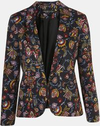 Topshop Tapestry Floral Print Open Front Blazer - Lyst