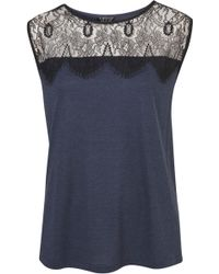Topshop Eyelash Lace Shell Top - Lyst