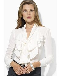 Ralph Lauren Long Sleeve Ruffled Silk Blouse - Lyst