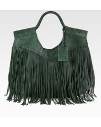 Ralph Lauren Collection Fringed Suede Hobo - Lyst