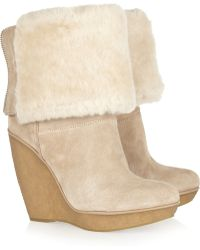 Kors by Michael Kors - Emmet Suede and Shearling Wedge Boots - Lyst