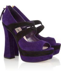 Miu Miu Suede Platform Sandals - Lyst