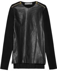 Proenza Schouler Zipdetailed Leather and Ribbedknit Top black - Lyst
