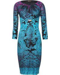 Roberto Cavalli Print Dress with Brooch - Lyst