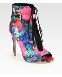 B Brian Atwood Lindford Satin Laceup Ankle Boots - Lyst