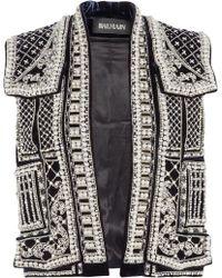 Balmain Embellished Velvet Vest silver - Lyst