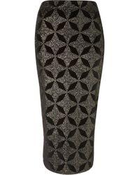 Topshop Star Glitter Velvet Tube Skirt - Lyst