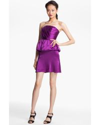 Tracy Reese Strapless Peplum Silk Dress - Lyst