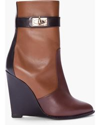 Givenchy Brown Tricolor Sharklock Wedge Boots brown - Lyst