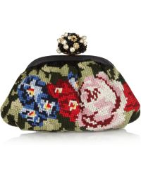 Dolce & Gabbana Miss Dea Floral Tapestry and Leather Clutch - Lyst