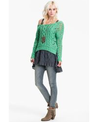 Free People Chunky Cable Sweater - Lyst