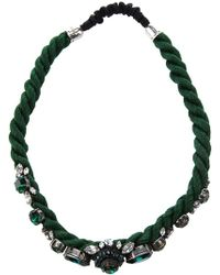 Shourouk Crystal Encrusted Head Band green - Lyst