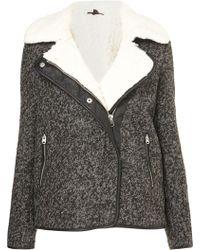 Topshop Textured Wool Biker Jacket - Lyst