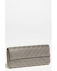 Whiting & Davis 'Crystal Chevron' Flap Clutch silver - Lyst