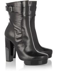Lanvin Metalpaneled Leather Calf Boots - Lyst