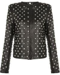 Diane von Furstenberg Kate Studded Leather Jacket black - Lyst