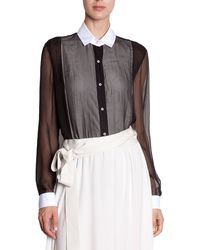 Lanvin Sheer Bib Blouse black - Lyst
