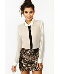 Nasty Gal Solid Gold Sequin Skirt - Lyst