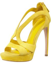 Alexander McQueen Highheel Doublearched Suede Sandal Yellow - Lyst